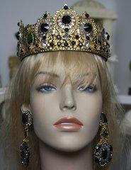 SOLD! 1589 Total Baroque Black Crystal HEadband Crown