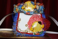 SOLD! 2386 Nautical Yellow Vivid Tropical Fish Coral Handbag