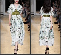 2439 High0End Designer Corset Floral Print Mid Cuff Dress