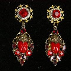 2238 Genuine Jasper Garnet Red Crystal Carved Face Studs
