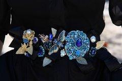 SOLD! Art Nouveau Rhinestone Enamel Black Ribbon Impressive Belt M, L, XL