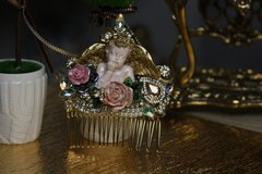 600  Hair Comb Total Baroque Hand Painted Cherub Ceramic Roses Crystal