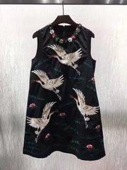 2180 Stunning Stork Embroidery Designer Inspired Collar Sleeveless Dress