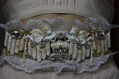 1827 Baroque Crown Crystal Cherub Theater Lace Waist Belt