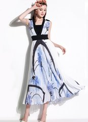 2106 Designer Inspired Pleated Mid Cuff Dress