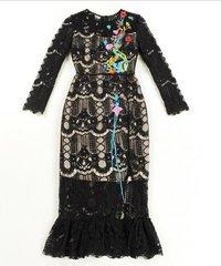 1879 Lace Ocean Fish Embroidery Applique Mid Cuff Elegant Dress US4-US6