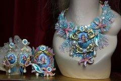 SOLD! 2057 Russian Mermaid Coral Seastar Massive Set Necklace+ Earrings