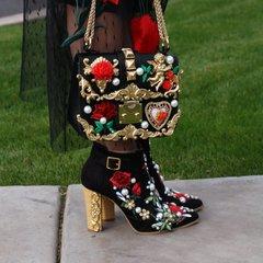 SOLD! Total Baroque Runway Cherub Heart Rose Embellished Gold Purse Handbag