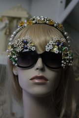 SOLD! 268 Top Heavy Embellished Spring Garden Flower Leaf Enamel Unusual Sunglasses