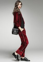 1584 Designer Inspired Trendy Red Vine Velvet Twinset