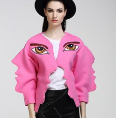 1376 Designer Inspired Unusual Eye Embroidery  Oversized Face Cotton Jacket