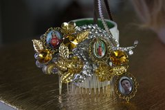 467  Hair Comb Designer Inspired Virgin Mary Cameo Crystal