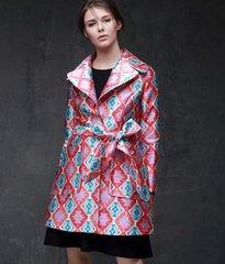 1574 Designer Inspired Pastel Geometry Print Light Trench Coat