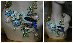 1278 Unusual Art Nouveau Vivid Light Blue Parrot Birdcage Crystal Necklace Set