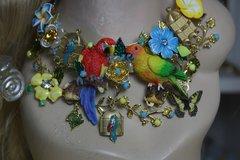 1177 Parrots Birdcage Enamel Flower  Butterfly Set
