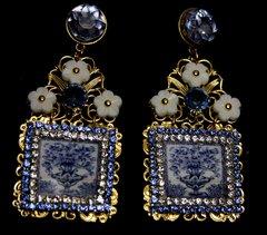 1894 Italian Tile Vase Print Blue Crystal Studs