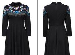 1782 Embroidery Butterfly Designer Inspired Black Mini Dress