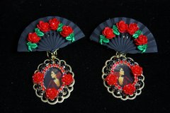 2009 Flamenco Black Fan Roses Cameo Studs