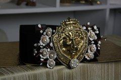 Total Baroque Massive Pearl Lion Corset Black Belt Size M, L