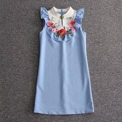 2378 Designer Inspired Poppy Applique Blue Mini Dress