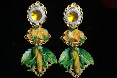 2349 Baroque Hand Painted Corn Yellow Crystal Earrings