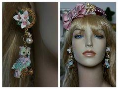 SOLD! 1514 3D Effect Vivid Owl Flower Studs Earrings