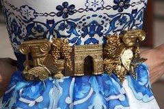 571 Baroque Roman Gold Ruins Arche Vintage Style Unique Corset Waist Belt Size L, XL