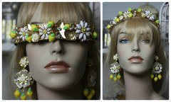 950  Lemon Stunning Flower Rhinestone Butterfly Headband Hairwear