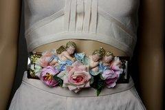 1756 Baroque Vivid Cherubs Pale Velvet Rose Embellished Belt