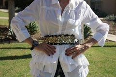 Baroque Runway Designer Inspired Curved Flower Lace Waist Gold Mesh Belt Size L, M