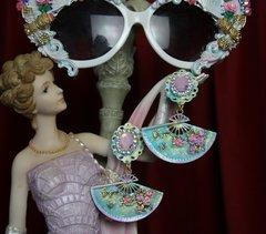SOLD! 2055 Hand Painted Fan Victorian Studs Earrings