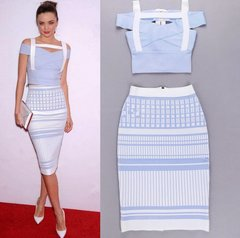 1575 Bandage Elegant Light Blue White Twinset