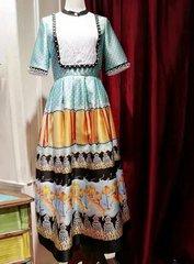 2104 Designer Inspired Runway Vintage Style Print Mid Cuff Dress