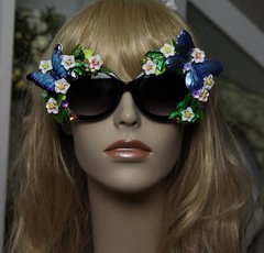 SOLD!  349 Impressive Art Nouveau Embellished Enamel Butterfly Unusual Sunglasses