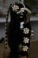 SOLD! 55 Runway Russian Doll Matryoshka Perfume Bottle Eye - Catch Purse Handbag