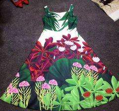 2393 Fall 2017 Runway Garden Print Knee Length Dress