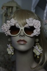SOLD! 336 Top Heavy Total Baroque Pale Pink Rose Cherub Fancy Sunglasses