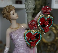 1125 Baroque Vine Heart Rose Earrings