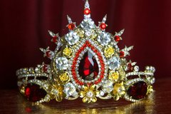 SOLD! 2131 BAroque Red Crystal Star Stunning Tiara Crown