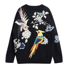 1510 Parrots Bird Embroidery Winter Black Sweater