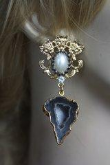 2225 Genuine Druzy Agate Lions Studs Earrings