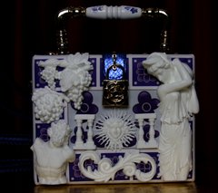 1914 Greek Revivial Medusa Grapes Greek Tile Embellished Trunk Handbag
