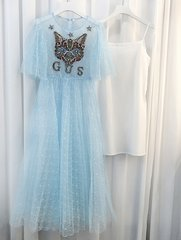 2372 Designer Stunning Beaded Applique Blue Mid Cuff Dress US2