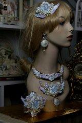 602  SET Art Nouveau Pearlish Purple Winged GoddessZibellini Cameo Statement Necklace