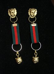 SOLD! 2402 Designer Inspired Tiget Lion Ribbon Earrings