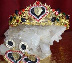 2237 Set Of  Baroque Heart Madonna Coin Tiara+ Earrings