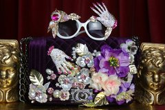 2083 Purple Velvet Crystal Hand Embellished Handbag