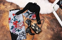357 Runway Asian Flower Print Belted Twinset