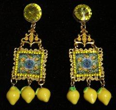 2458  Sicilian Tile Print Lemon Stunning Studs Earrings