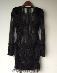 2481 Bandage Beaded Feather Stunning Black Mini Dress